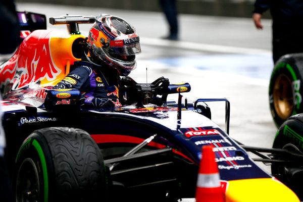 Shanghai International Circuit, Shanghai, China. Saturday 19 April 2014. Sebastian Vettel, Red Bull Racing, arrives in Parc Ferme, after qualifying. World Copyright: Andy Hone/LAT Photographic. ref: Digital Image _ONZ5318