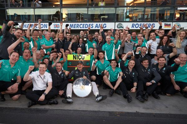 Albert Park, Melbourne, Australia. Sunday 16 March 2014. Nico Rosberg, Mercedes AMG, 1st Position, celebrates with his team. World Copyright: Steve Etherington/LAT Photographic. ref: Digital Image SNE13834 copy