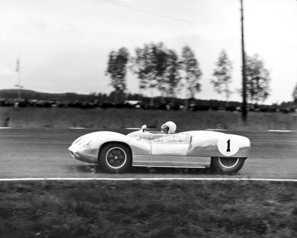Karlskoga, Sweden. 7th August 1960.Stirling Moss (Lotus 19-Climax), 1st position position, action. World Copyright: LAT PhotographicRef:  B/W Print.