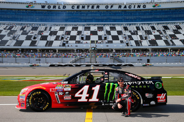 13-21 February, 2016, Daytona Beach, Florida USA   Kurt Busch, driver of the #41 Haas Automation/Monster Energy Chevrolet, poses with his car after qualifying for the NASCAR Sprint Cup Series Daytona 500 at Daytona International Speedway on February 14, 2016 in Daytona Beach, Florida.   LAT Photo USA via NASCAR via Getty Images