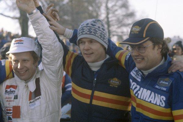 1981 World Rally Championship.Swedish Rally, Sweden. 13-15 February 1981.Left-to-right: Hannu Mikkola, Ari Vatanen and Pentti Airikkala. Portrait.World Copyright: LAT PhotographicRef: 35mm transparency 81RALLY13