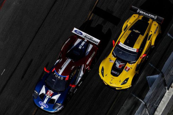 #67 Chip Ganassi Racing Ford GT, GTLM: Ryan Briscoe, Richard Westbrook, #3 Corvette Racing Chevrolet Corvette C7.R, GTLM: Antonio Garcia, Jan Magnussen