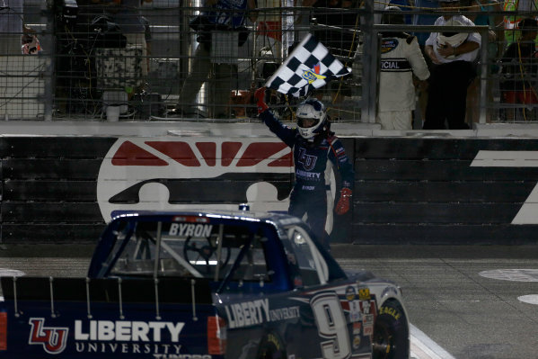 9-10 June, 2016, Fort Worth, Texas USA William Byron celebrates with the checkered flag ?2016, Phillip Abbott LAT Photo USA