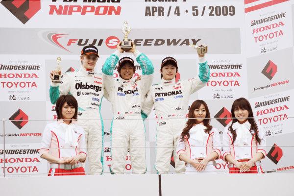 Fuji, Japan. 5th April 2009.Rd1 - Podium.World Copyright: Yasushi Ishihara/LAT Photographicref: 2009JF3_R1_004