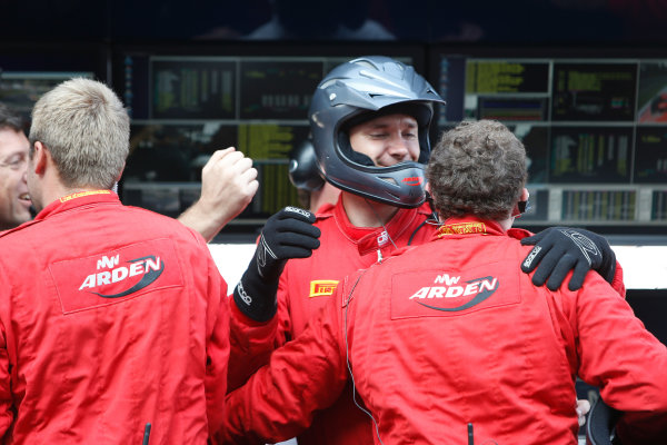 Autodromo Nazionale di Monza, Monza, Italy. Sunday 9th September 2012. Sunday Race 2.MW Arden celebrate Mitch Evans (NZL, MW Arden) winning the 2012 GP3 Series. Portrait.  World Copyright: Glenn Dunbar/LAT Photographic Ref: Digital Image _89P9179.jpg