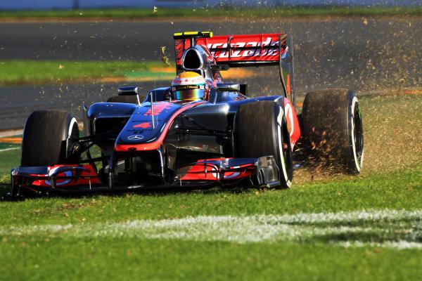 Lewis Hamilton (GBR) McLaren MP4-27, goes off track at turn 1. Formula One World Championship, Rd1, Australian Grand Prix, Qualifying, Albert Park, Melbourne, Australia, Saturday 17 March 2012. BEST IMAGE