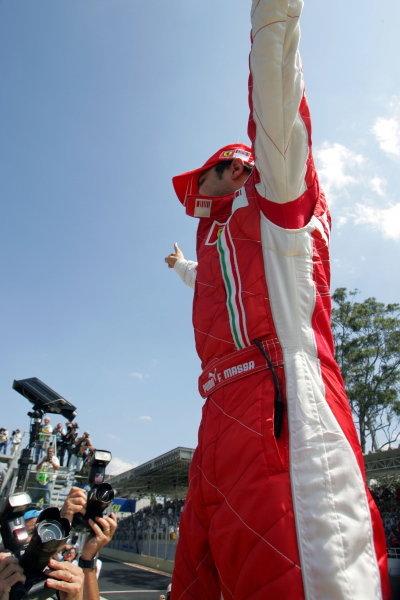 Felipe Massa (BRA) Ferrari celebrates pole position in parc ferme. Formula One World Championship, Rd17, Brazilian Grand Prix, Qualifying Day, Interlagos, Sao Paulo, Brazil, Saturday 20 October 2007.