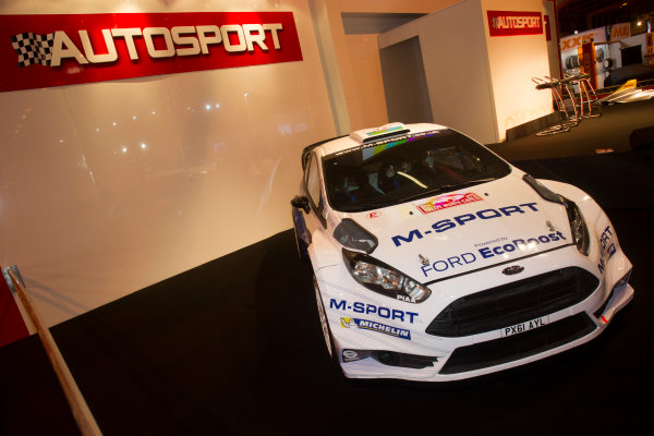 Autosport International Exhibition. National Exhibition Centre, Birmingham, UK. Thursday 8 January 2015. Ford Fiesta RS WRC on the Autosport stand. World Copyright: LAT Photographic. ref: Digital Image EL0G1801