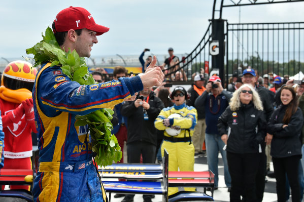 Verizon IndyCar Series IndyCar Grand Prix at the Glen Watkins Glen International, Watkins Glen, NY USA Sunday 3 September 2017 Alexander Rossi, Curb Andretti Herta Autosport with Curb-Agajanian Honda celebrates the win in Victory Lane World Copyright: Scott R LePage LAT Images ref: Digital Image lepage-170903-wg-7927