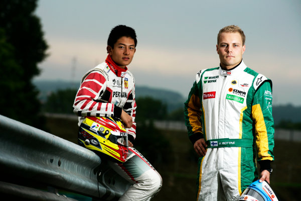 Round 6. Hungaroring, Budapest, Hungary, 28th July 2011.Thursday Preview. Rio Haryanto, (INA, Marussia Manor Racing) and Valtteri Bottas, (FIN, Lotus ART) winners of races 9 and 10 at round five at the Nurburgring, Germany. Portrait. Photo: Drew Gibson/GP3 Media Service. ref: Digital Image _Y2Z6641