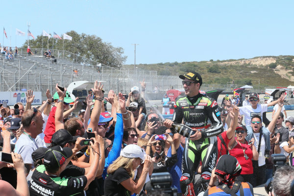 2017 Superbike World Championship - Round 8 Laguna Seca, USA. Sunday 9 July 2017 Winner Jonathan Rea, Kawasaki Racing sprays fans World Copyright: Gold and Goose/LAT Images ref: Digital Image 683469