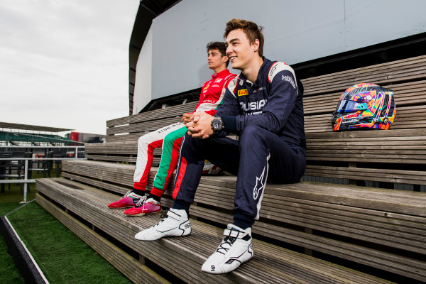 2017 FIA Formula 2 Round 6. Silverstone, Northamptonshire, UK. Thursday 13 July 2017. Charles Leclerc (MCO, PREMA Racing) and Antonio Fuoco (ITA, PREMA Racing).  Photo: Zak Mauger/FIA Formula 2. ref: Digital Image _56I6272