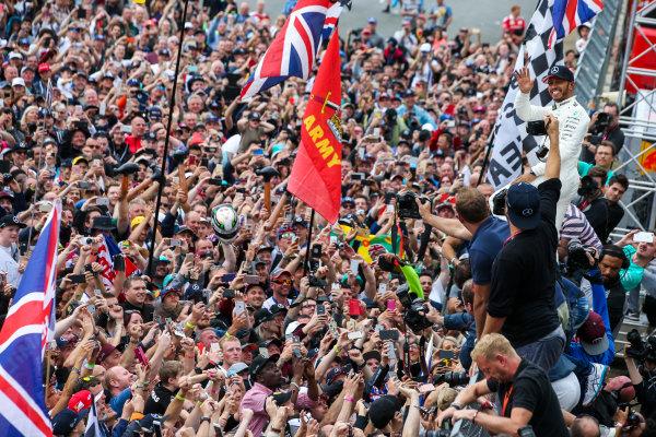 Silverstone, Northamptonshire, UK.  Sunday 16 July 2017. Lewis Hamilton, Mercedes AMG, 1st Position, celebrates with an enormous home crowd. World Copyright: Coates/LAT Images  ref: Digital Image DJ5R7423