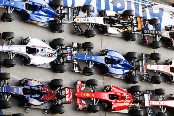 Shanghai International Circuit, Shanghai, China. Sunday 12 April 2015. The cars in Parc Ferme after the race. World Copyright: Steven Tee/LAT Photographic. ref: Digital Image _L4R8790