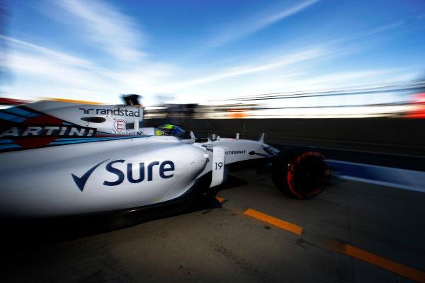 Silverstone, Northamptonshire, England. Friday 03 July 2015. Felipe Massa, Williams FW37 Mercedes, leaves the garage. World Copyright: Glenn Dunbar/LAT Photographic. ref: Digital Image _89P0391