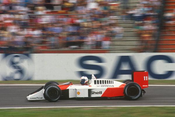 Hockenheim, Germany. 22nd - 24th July 1988. Alain Prost (McLaren MP4/4-Honda), 2nd position, action.  World Copyright: LAT Photographic. Ref: 88GER11