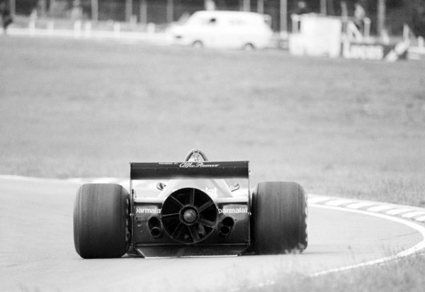 A Brabham BT46B is tested featuring the controversial rear fan; claimed by the team to be for cooling, but was actually there to improve grip.Formula One Testing, Brands Hatch, England, c. June 1978.