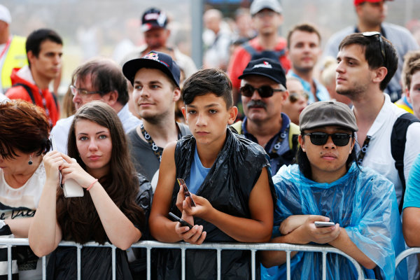 Hungaroring, Budapest, Hungary. Thursday 23 July 2015. Fans wait for autographs from the drivers. World Copyright: Charles Coates/LAT Photographic ref: Digital Image _J5R0838