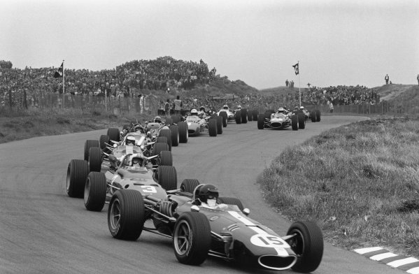 Zandvoort, Holland. 4 June 1967. Dan Gurney (Eagle AAR104-Weslake) leads Chris Amon (Ferrari 312) and Jim Clark (Lotus 49-Ford Cosworth). Ref-1574 #5A. World Copyright - LAT Photographic