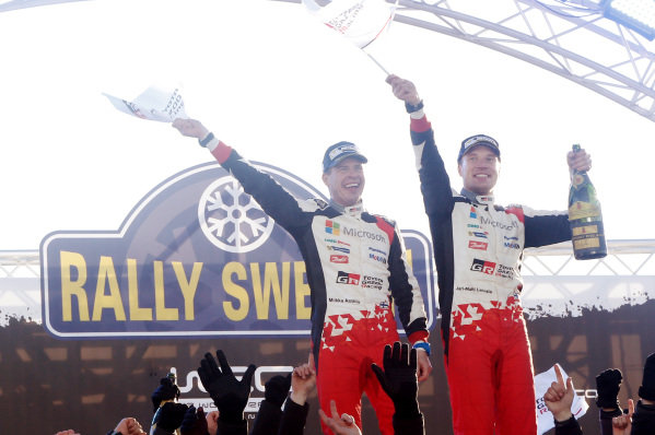 Rally winners Jari-Matti Latvala (FIN) / Miikka Anttila (FIN), Toyota Gazoo Racing Toyota Yaris WRC celebrate on the podium at World Rally Championship, Rd2, Rally Sweden, Day Three, Karlstad, Sweden, 12 February 2017.