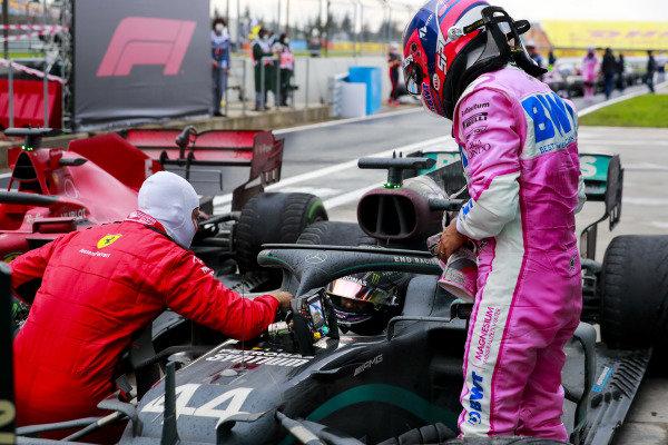 Race Winner Lewis Hamilton, Mercedes-AMG Petronas F1 celebrates his 7th World Championship title in Parc Ferme with Sebastian Vettel, Ferrari and Sergio Perez, Racing Point