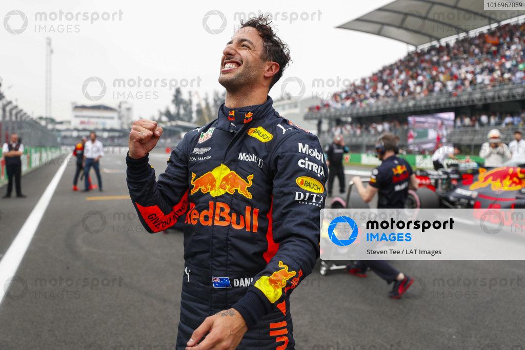 Pole man Daniel Ricciardo, Red Bull Racing, celebrates