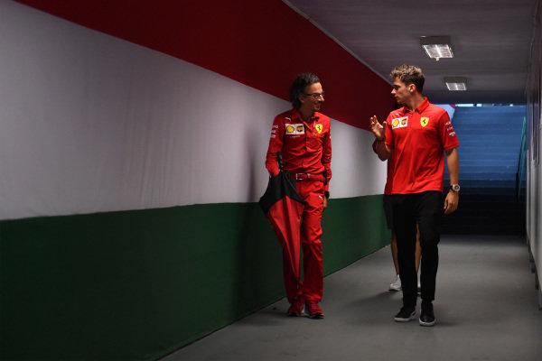 Laurent Mekies, Sporting Director, Ferrari, and Charles Leclerc, Ferrari