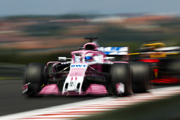 Sergio Perez, Force India VJM11 Mercedes, leads Max Verstappen, Red Bull Racing RB14 Tag Heuer.