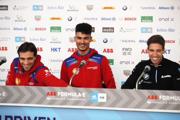 Jérôme d'Ambrosio (BEL), Mahindra Racing, Pascal Wehrlein (DEU), Mahindra Racing and Antonio Felix da Costa (PRT), BMW I Andretti Motorsports in the press conference