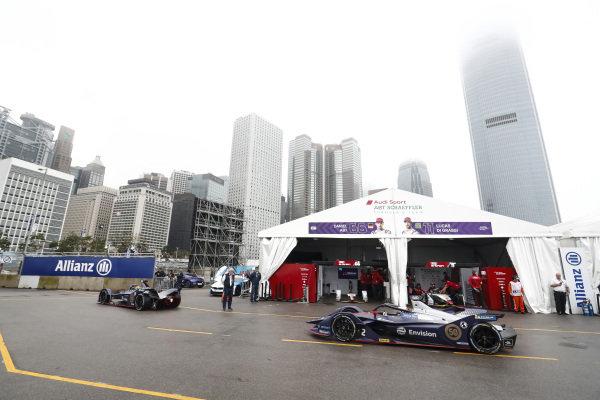 Robin Frijns (NLD), Envision Virgin Racing, Audi e-tron FE05 and Sam Bird (GBR), Envision Virgin Racing, Audi e-tron FE05 head down the pit lane