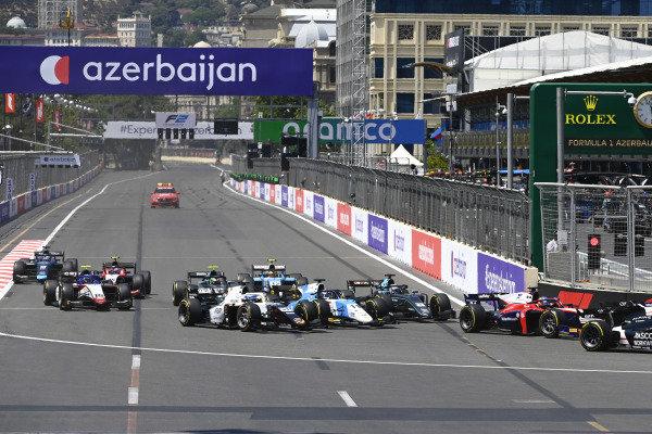Matteo Nannini (ITA, Campos Racing), Richard Verschoor (NLD, MP Motorsport) and Jack Aitken (GBR, HWA Racelab)