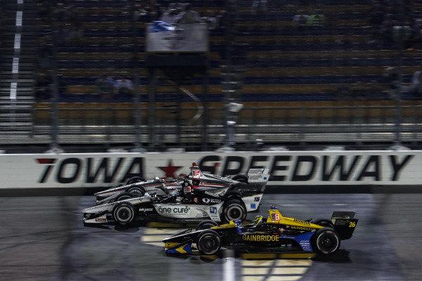 Will Power, Team Penske Chevrolet, Graham Rahal, Rahal Letterman Lanigan Racing Honda, Zach Veach, Andretti Autosport Honda