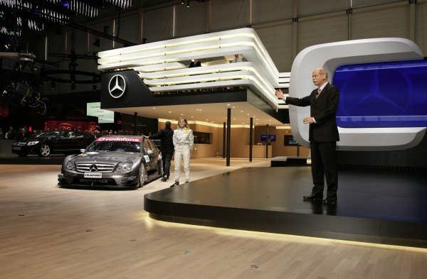 Dr. Dieter Zetsche (right), CEO of the DaimlerChrysler AG, and Mercedes-Benz DTM driver Susie Stoddart (GBR) present the new AMG-Mercedes C-Class DTM car.AMG-Mercedes C-Class Launch, Geneva Motor Show, Switzerland, 6 March 2007.DIGITAL IMAGE