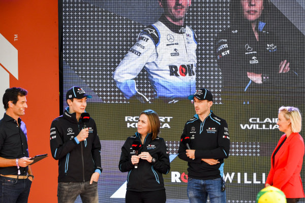 Mark Webber, George Russell, Williams, Claire Williams, Deputy Team Principal, Williams Racing and Robert Kubica, Williams Racing at the Federation Square event.