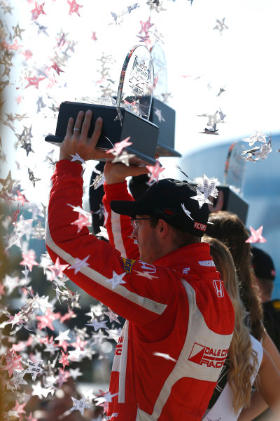 2017 Verizon IndyCar Series Toyota Grand Prix of Long Beach Streets of Long Beach, CA USA Sunday 9 April 2017 Sebastien Bourdais celebrates on the podium World Copyright: Phillip Abbott/LAT Images ref: Digital Image lat_abbott_lbgp_0417_15046
