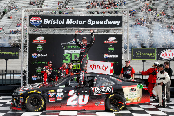 NASCAR Xfinity Series Fitzgerald Glider Kits 300 Bristol Motor Speedway, Bristol, TN USA Saturday 22 April 2017 Erik Jones, Reser's American Classic Toyota Camry, victory lane World Copyright: Lesley Ann Miller LAT Images ref: Digital Image lam_170422BMS34862