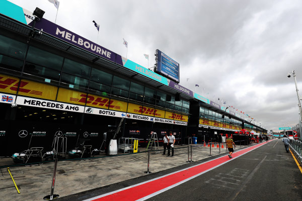 Albert Park, Melbourne, Australia. Wednesday 22 March 2017. Mercedes garage as the Pit lane is prepared for the Grand Prix World Copyright: Sam Bloxham/LAT Images ref: Digital Image AW6I0012