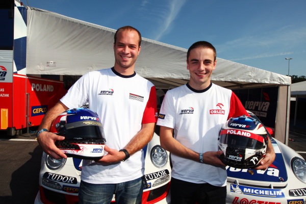 (L to R): Robert Lukas (POL) Verva Racing Team with team mate Kuba Giermaziak (POL) Verva Racing Team. Porsche Supercup, Rd 9, Monza, Italy, 10-12 September 2010.
