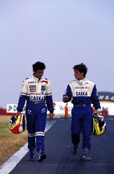 (L-R) Helio Castro Neves (BRA) and Cristiano da Matta (BRA) West Surrey Racing.International Formula 3 Race, Donington Park, England. 9 July 1995.