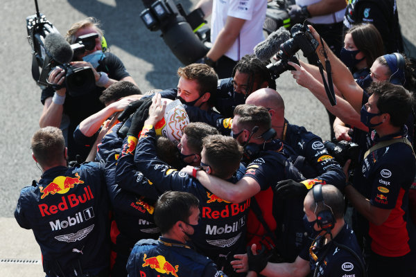 Max Verstappen, Red Bull Racing, 1st position, celebrates victory with his team in Parc Ferme