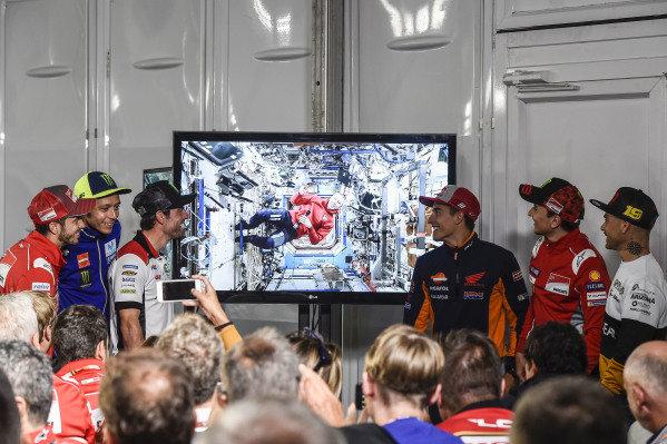 Valentino Rossi, Yamaha Factory Racing, Cal Crutchlow, Team LCR Honda, Drew Feustel, Marc Marquez, Repsol Honda Team, Jorge Lorenzo, Ducati Team, Alvaro Bautista, Angel Nieto Team