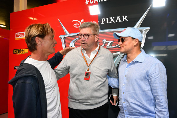 Ross Brawn (GBR) Formula One Managing Director of Motorsports with Woody Harrelson (USA) Actor and in the cars 3 garage at Formula One World Championship, Rd10, British Grand Prix, Race, Silverstone, England, Sunday 16 July 2017.