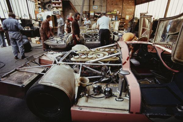 Porsche mechanics inspect the stripped down Gérard Larrousse / Vic Elford, Martini International Racing Team, Porsche 917L and the Willy Kauhsen / Reinhold Joest, Martini International Racing Team, Porsche 917/20 entries before the race.
