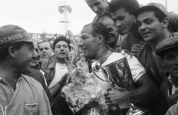 1956 Italian Grand Prix.Monza, Italy.31/8-2/9 1956.Stirling Moss (Maserati 250F) 1st position.World Copyright - LAT Photographic