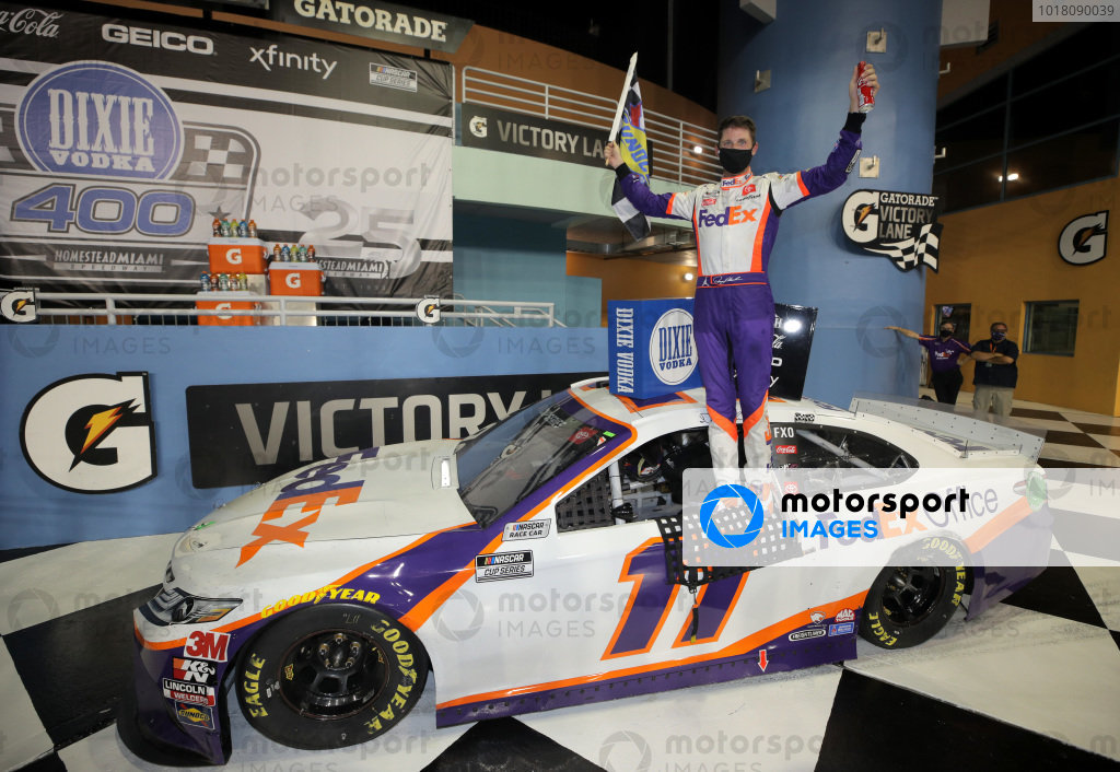 Race winner Denny Hamlin, Joe Gibbs Racing Toyota, Copyright: Chris Graythen/Getty Images.