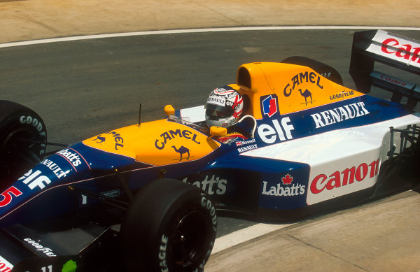 1992 South African Grand Prix.Kyalami, South Africa.28/2-1/3 1992.Nigel Mansell (Williams FW14B Renault) 1st position.Ref-92 SA 01.World Copyright - LAT Photographic
