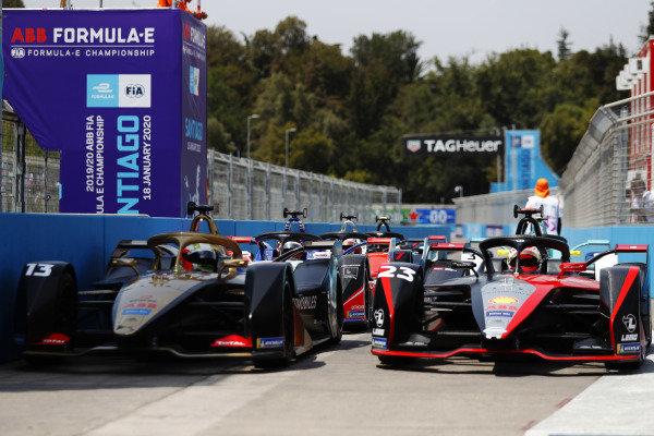 Antonio Felix da Costa (PRT), DS Techeetah, DS E-Tense FE20, and Sébastien Buemi (CHE), Nissan e.Dams, Nissan IMO2