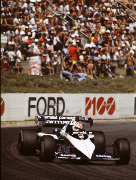 1983 South African Grand Prix.Kyalami, South Africa.13-15 October 1983.Nelson Piquet (Brabham BT52B BMW) 3rd position clinching the World Championship.World Copyright - LAT Photographic