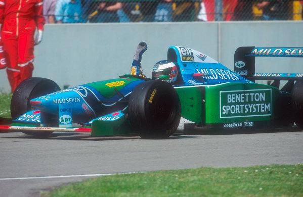 1994 San Marino Grand Prix.Imola, Italy.29/4-1/5 1994.Michael Schumacher (Benetton B194 Ford) celebrates 1st position. Ref-94 SM 46.World Copyright - LAT Photographic