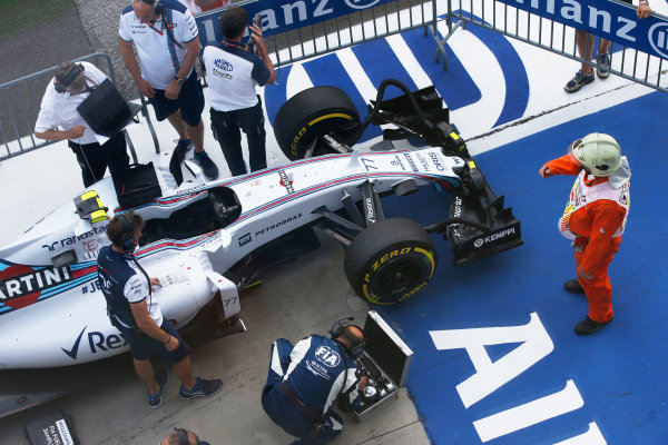 Hungaroring, Budapest, Hungary. Saturday 25 July 2015. The car of Valtteri Bottas, Williams FW37 Mercedes, in Parc Ferme. World Copyright: Glenn Dunbar/LAT Photographic ref: Digital Image _89P7598
